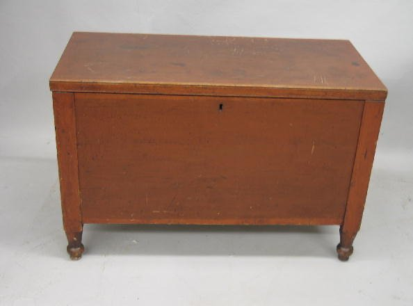 417: CHILD SIZE BLANKET CHEST. Cherry six-board chest w