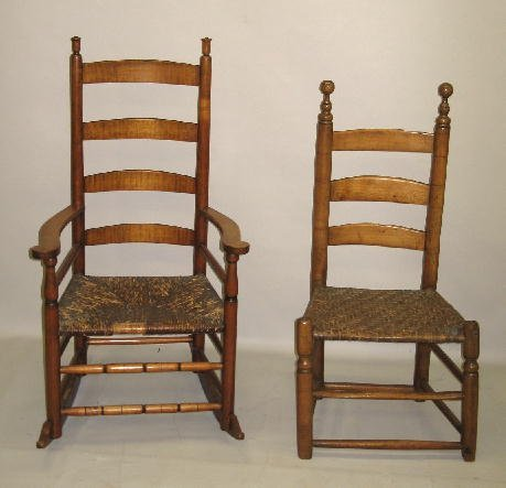 418: TWO LADDERBACK CHAIRS. PIctured is armchair rocker