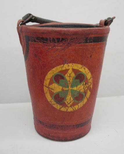 419: FIRE BUCKET. Thick leather with a wood reinforced