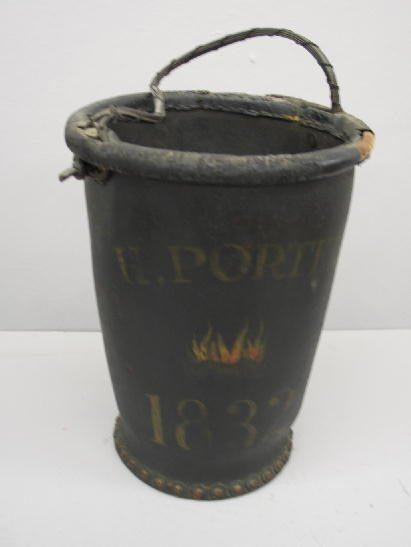 420: FIRE BUCKET. Leather held with copper rivets with