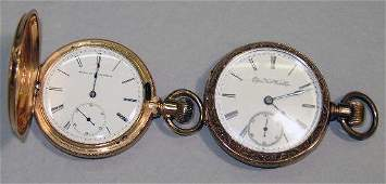 475 TWO POCKET WATCHES 14KYG Elgin hunters case with