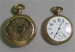 483 TWO POCKET WATCHES 14KYG hunters case Elgin with