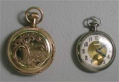 497 TWO POCKET WATCHES 14KYG Elgin hunters case with