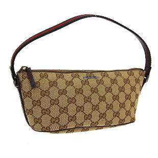 Authentic GUCCI Canvas Leather Hand Bag