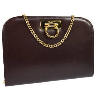 Authentic Salvatore Ferragamo Leather Shoulder Bag