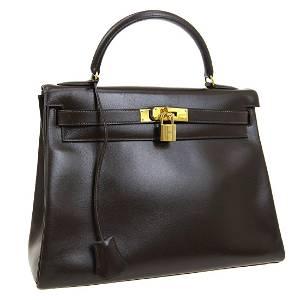 Authentic HERMES KELLY 32 Box Calf Hand Bag