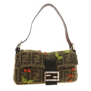 FENDI Zucca Embroidery Mamma Baguette Hand Bag