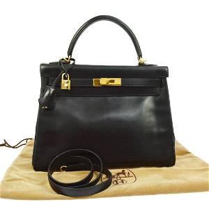 HERMES KELLY 32 RETOURNE Hand Bag Black Box Calf