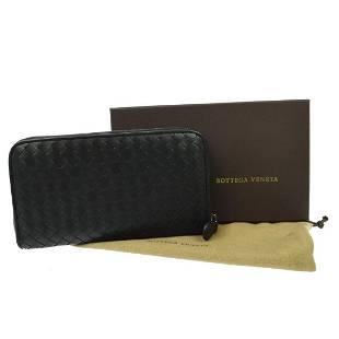BOTTEGA VENETA Intrecciato Zipper Wallet Leather Black