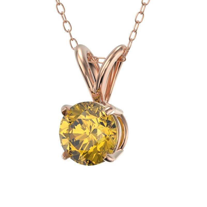 .56 ctw Certified Intense Yellow Diamond Necklace 10k