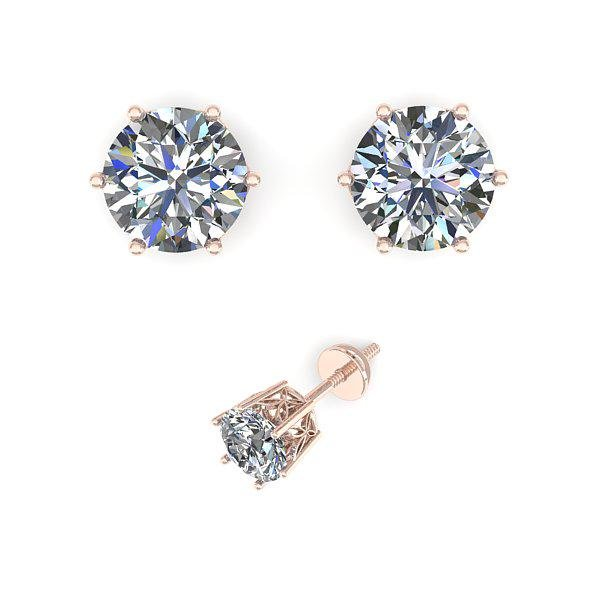.53 ctw VS/SI Diamond Stud Art Deco Earring 14k Rose