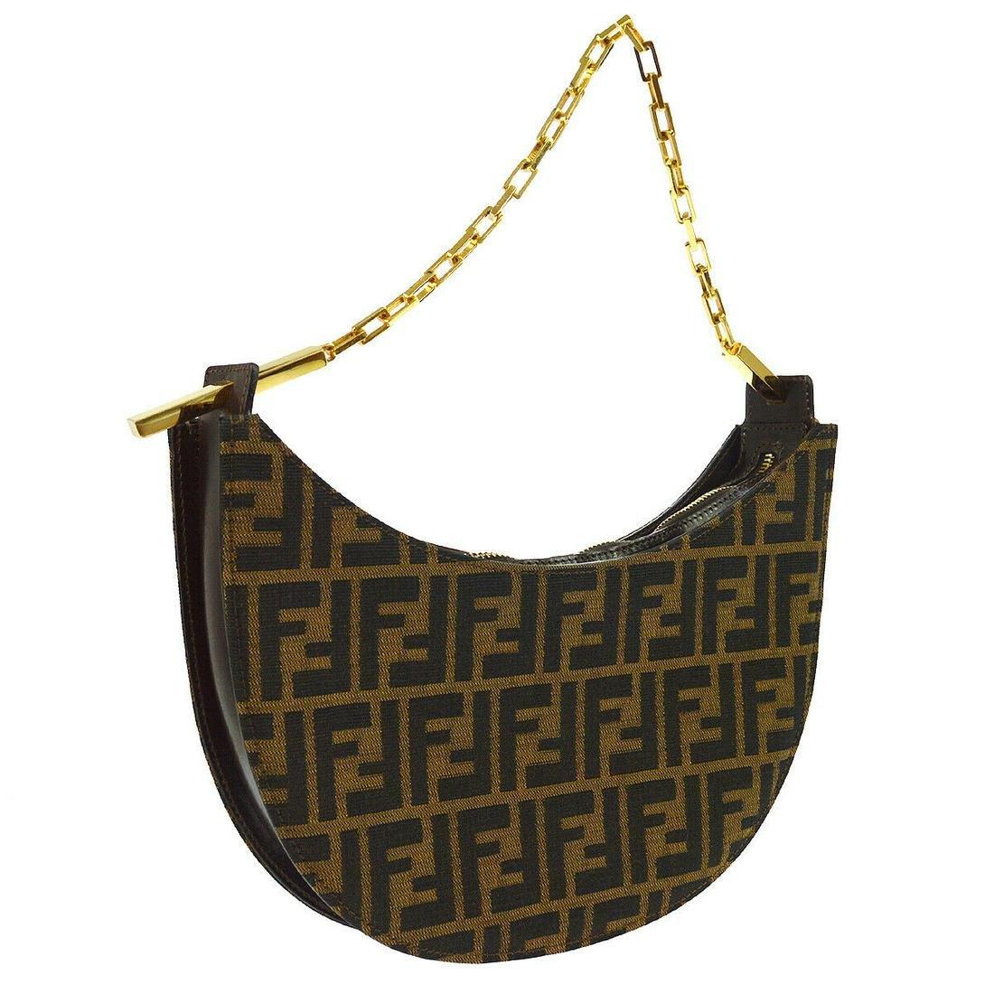Authentic FENDI Canvas, Leather Shoulder Bag / Pochette