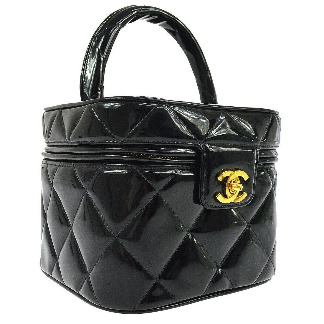 Authentic CHANEL Patent Leather Cosmetic Bag