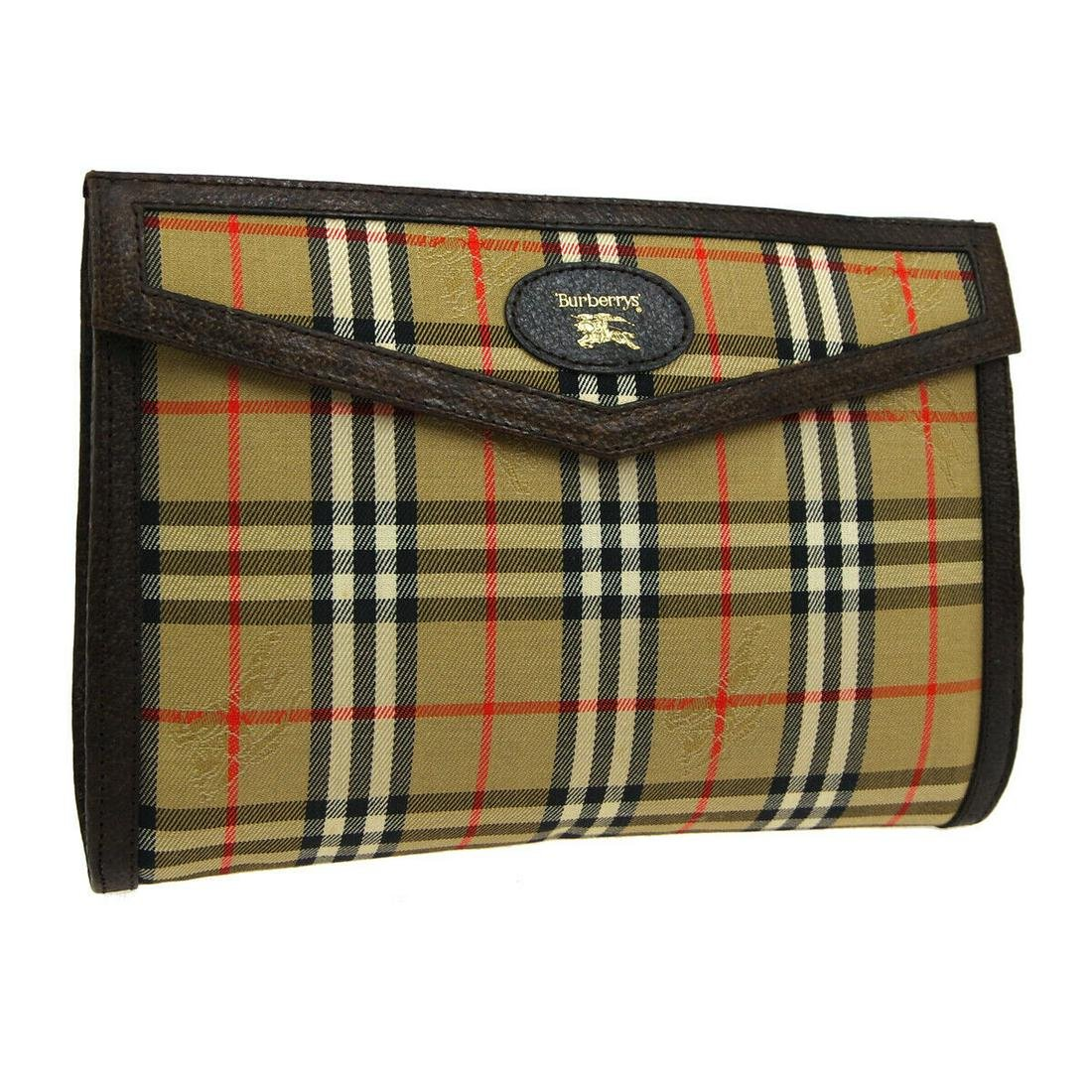 Authentic BURBERRY POUCH Canvas, Leather Clutch