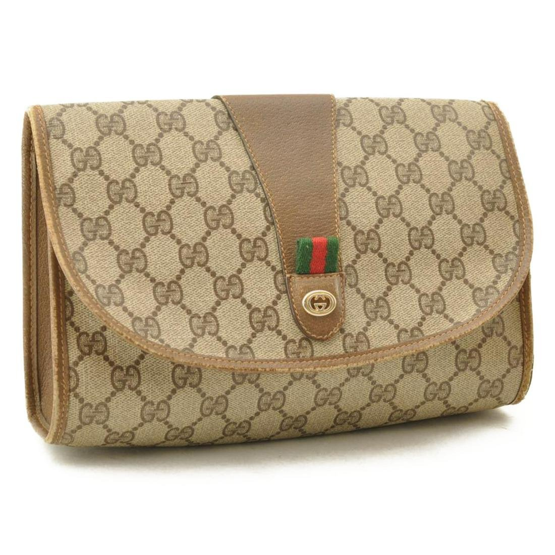 Authentic GUCCI GG Canvas Clutch Bag