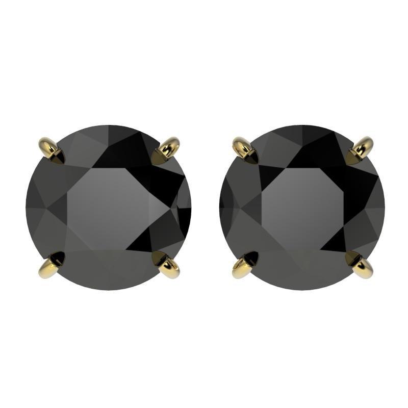 3.10 ctw Fancy Black Diamond Solitaire Stud Earring 10k