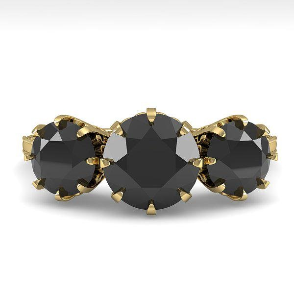 2 ctw Black Diamond Ring 14k Yellow Gold