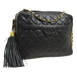 Authentic CHANEL Caviar Skin Leather Shoulder Bag