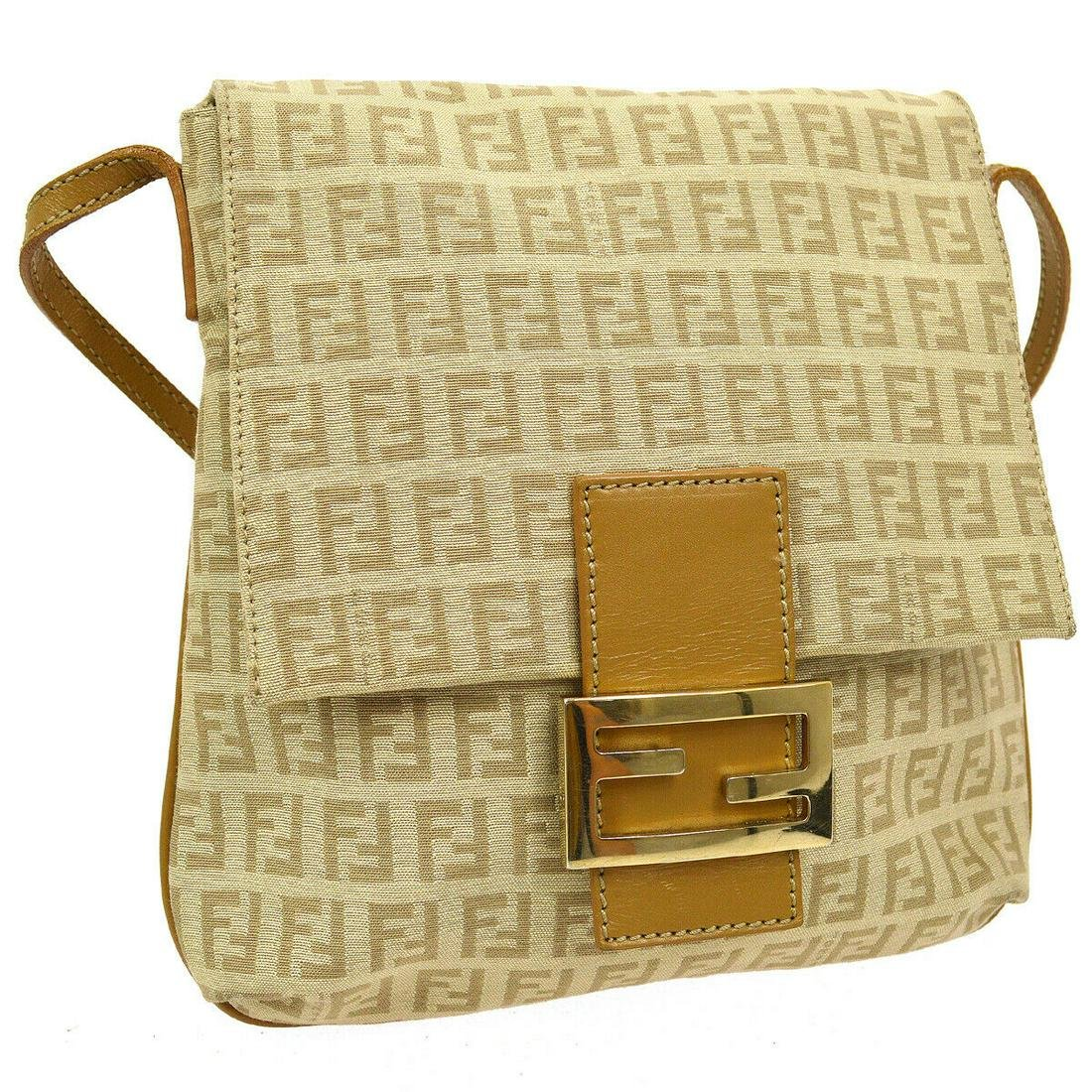 Authentic FENDI Canvas, Leather Shoulder Bag