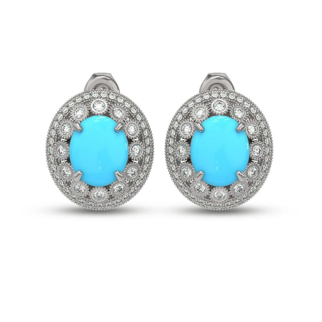 9.21 ctw Turquoise & Diamond Victorian Earring 14K