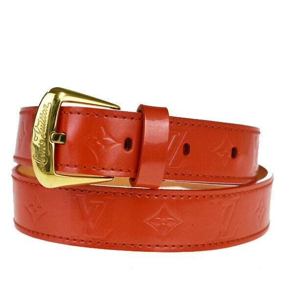 Authentic LOUIS VUITTON Monogram Vernis Leather Belt