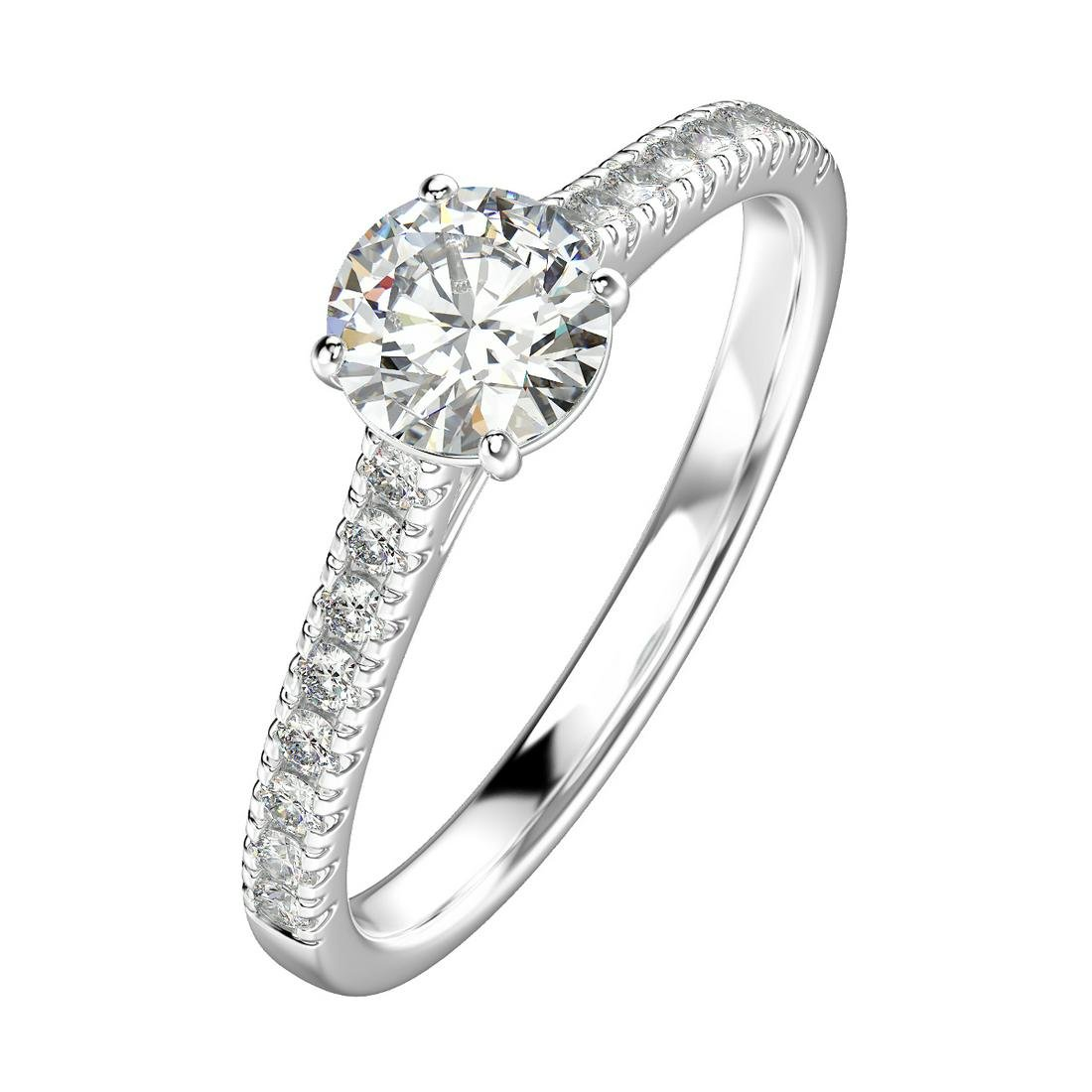 0.94 Carat Platinum Engagement Ring With Diamond Band