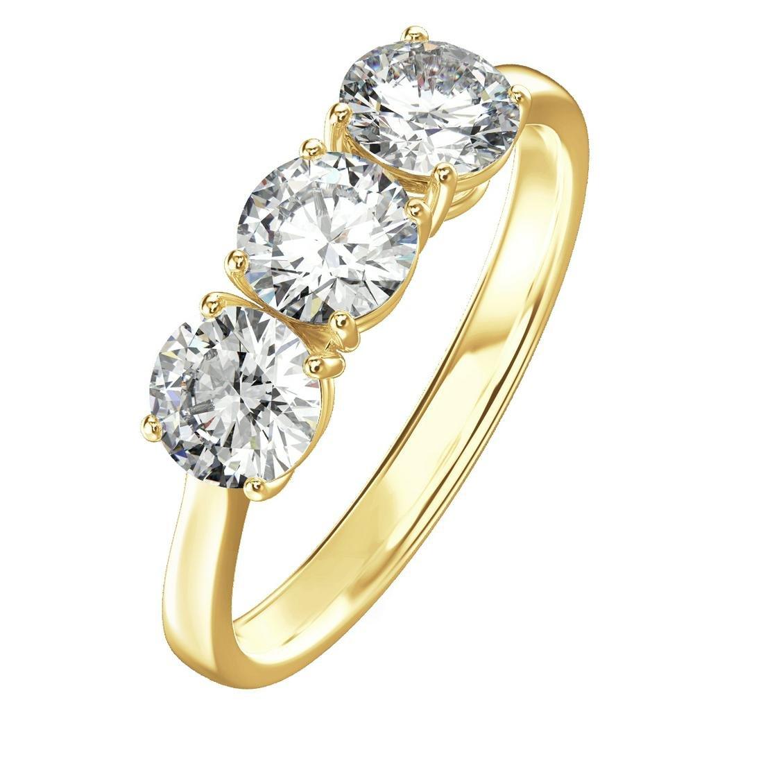 1.50 Carat 3 Stone Diamond Engagement Ring in 18K