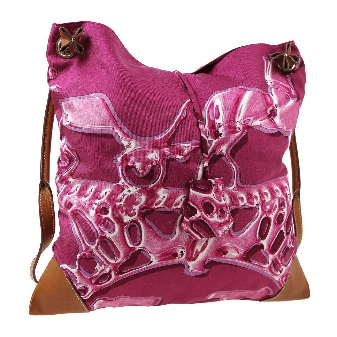 Authentic HERMES 100% Silk, Leather Shoulder Bag
