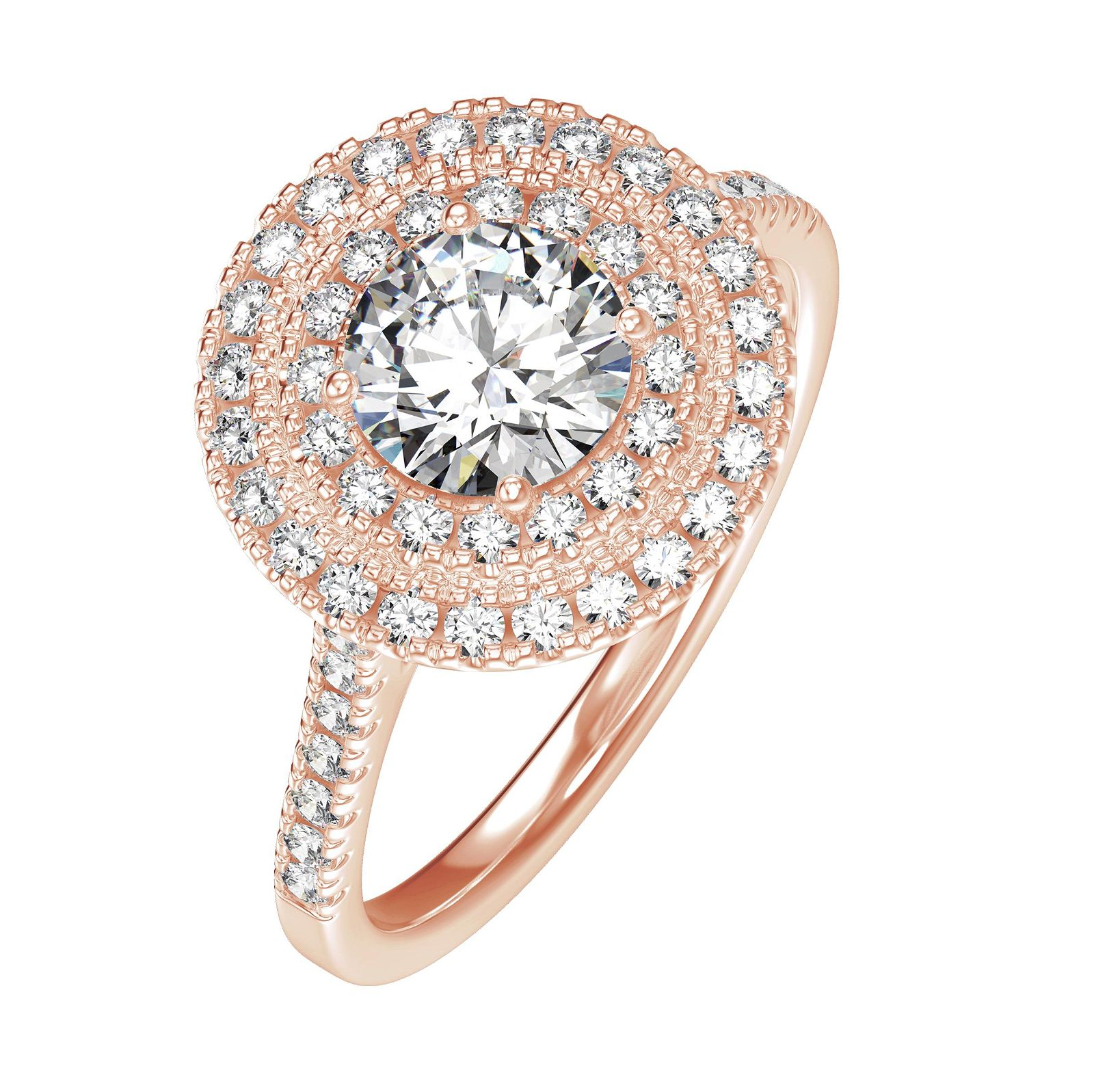 154 Carat Double Halo 14K Rose Gold Engagement Ring
