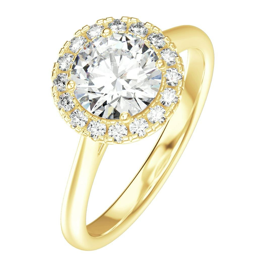 1.74 Carat Halo 18K Yellow Gold Engagement Ring