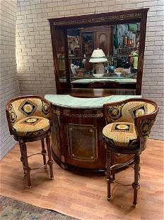 Versace Style Curved Lacquered Marble Top Bar with