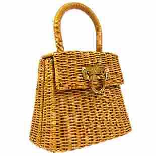 Authentic SALVATORE FERRAGAMO Straw Hand Tote Bag