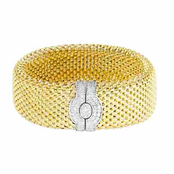 14K Diamond Yellow Gold Small Mesh Bracelet