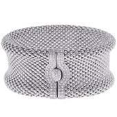 14K Diamond White Gold Medium Mesh Bracelet