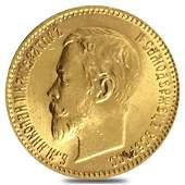 5 Roubles Russia Nicholas II Gold Coin BU AGW 1244 oz