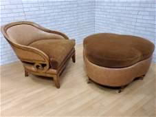 Art Deco Designer Barrel Back Chair and Clover Shaped