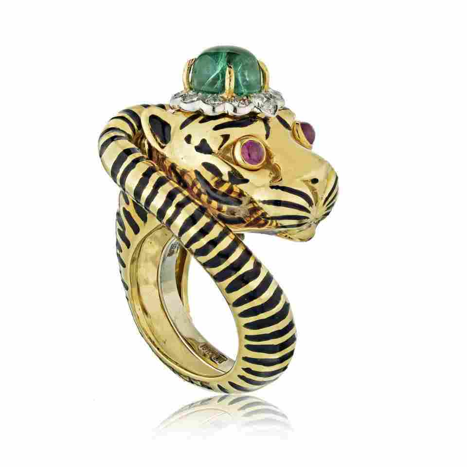 Authentic  David Webb  Tiger Vintage Ring