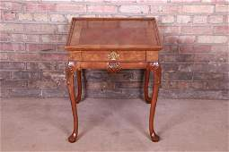 Authentic Baker Furniture Burled Walnut Queen Anne Tea