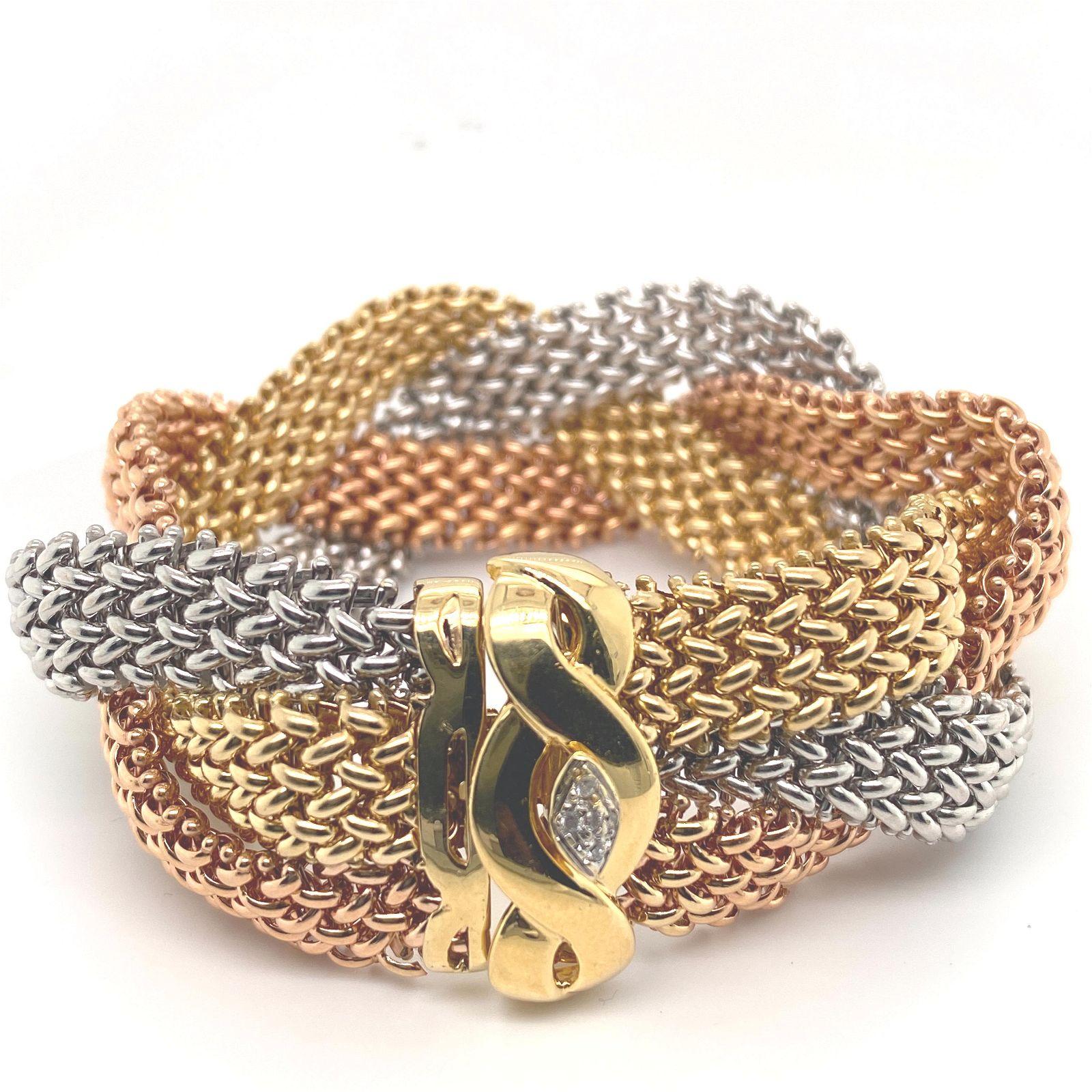 14K Diamond Tri Color Braided Mesh Bracelet