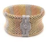 14K Diamond Tri Color Gold Medium Mesh Bracelet