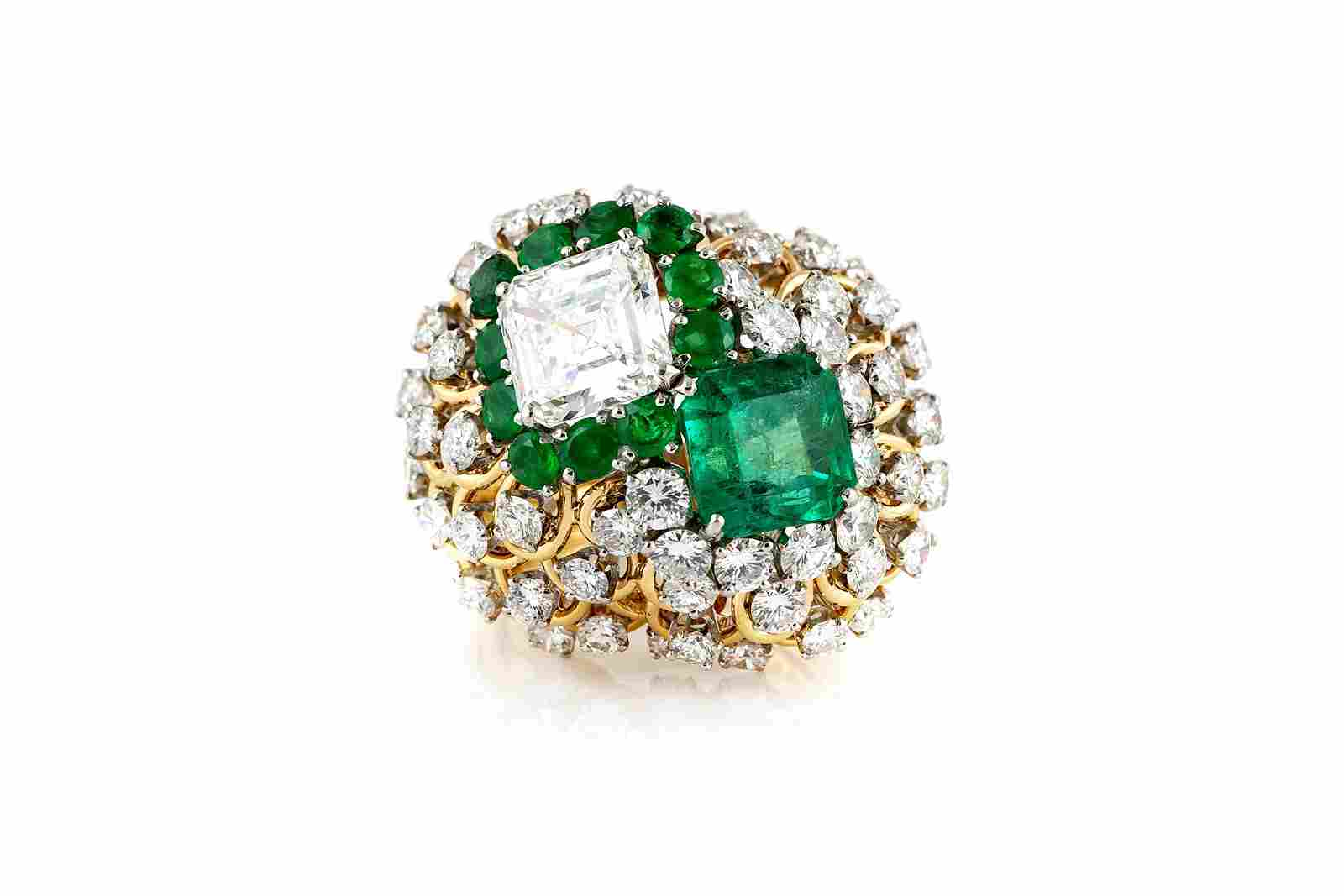Authentic David Webb Cocktail Ring With Green Emerald