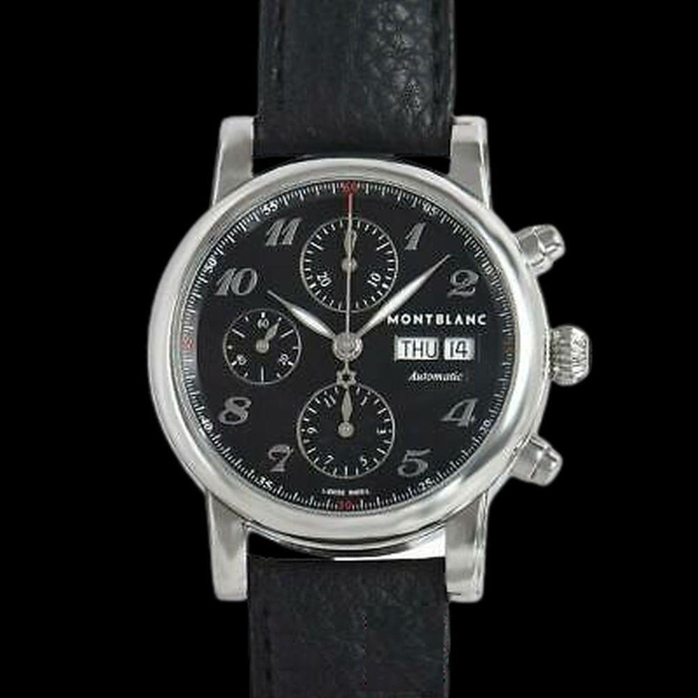 Authentic MONTBLANC Star Chronograph 106467 Men's Black