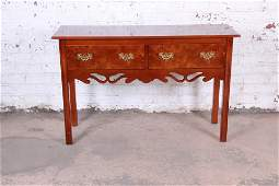 Georgian Burl Wood and Banded Mahogany Credenza or