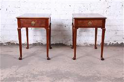 Baker Furniture Queen Anne Burled Walnut Nightstands or