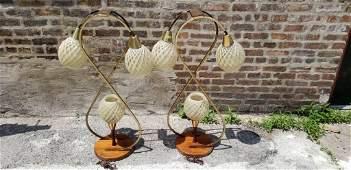 Mid Century Modern 3 Globe Table Lamp - Pair