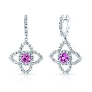 Pink Sapphire And Diamond Dangle Flower Earrings In 14k
