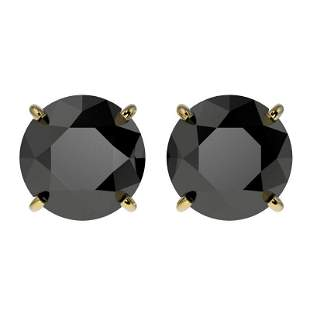 3.18 ctw Fancy Black Diamond Solitaire Stud Earring 10k