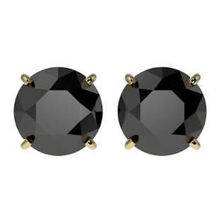 3.50 ctw Fancy Black Diamond Solitaire Stud Earring 10k