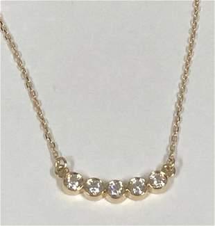 Diamond 5-stone Round Bezel Curved Necklace In 14k