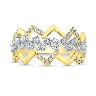Diamond Criss-cross High-polish Accent Ring In 14k